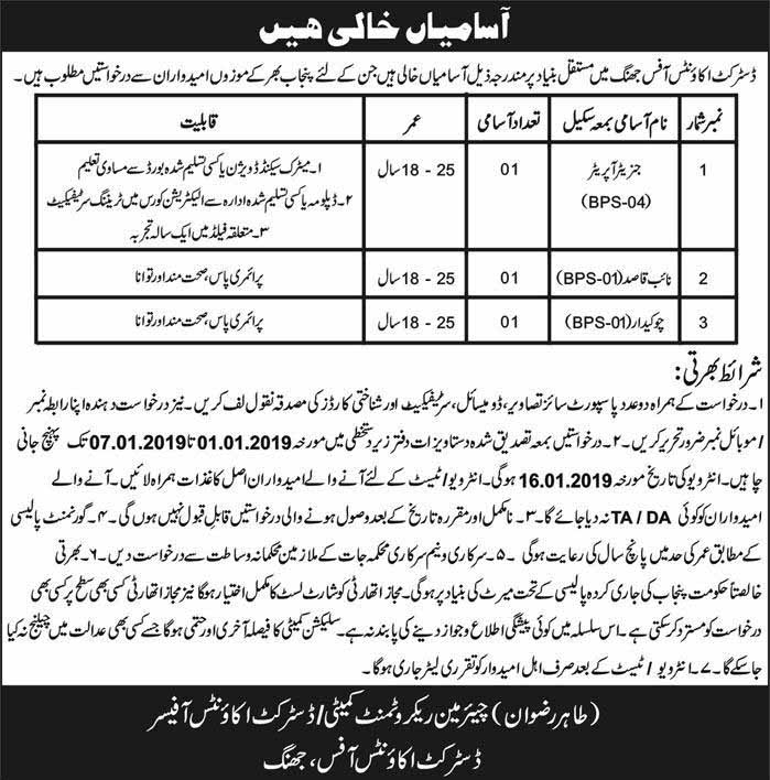 District Accounts Office Jhang Jobs, Matric and Primary Education