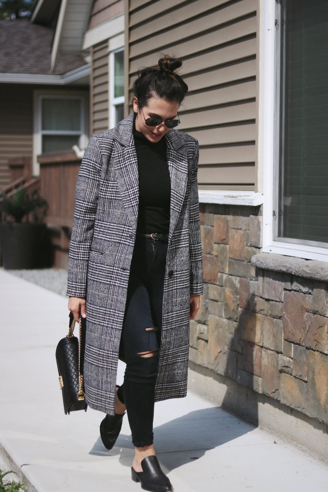 Plaid coat le chateau vancouver fashion blogger cool winter outfit chanel boy aleesha harris