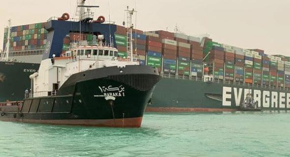 سفينة إفر غبفن العملاقة تغلق قناة السويس