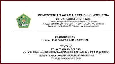 Formasi PPPK Guru Kementerian Agama Tahun 2021