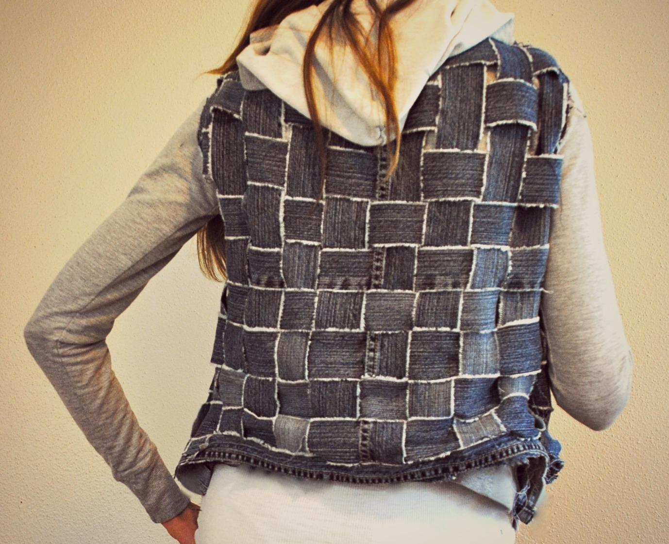 trash to couture jeans basket weave into textured vestjacket