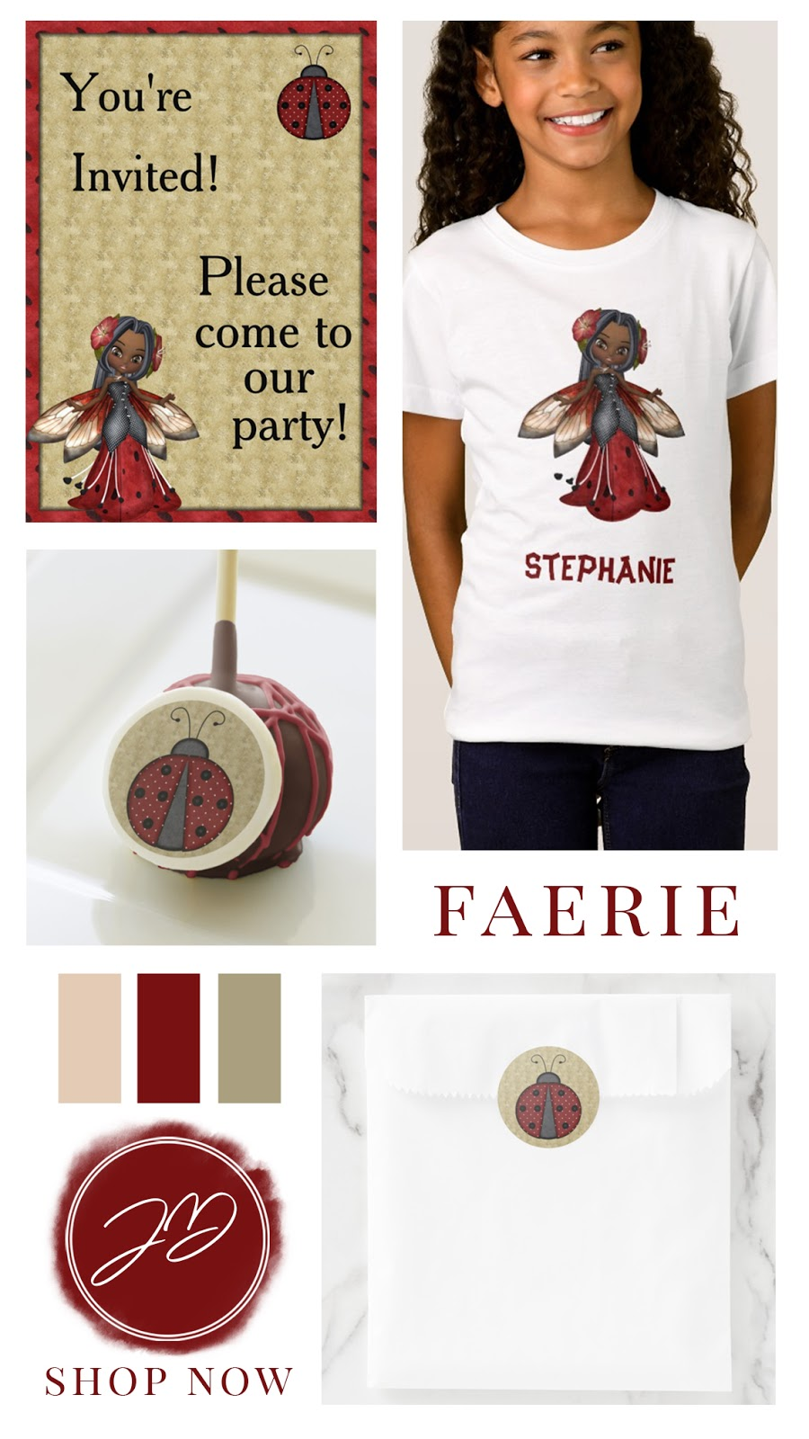 African American ladybug fairy girl's birthday party suite. Personalized apparel, invites, and party favors. In a red black and tan color palette.