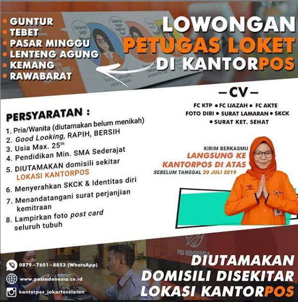 Lowongan Kerja Petugas Loket Kantor POS Indonesia Minimal SMA Sederajat 2019