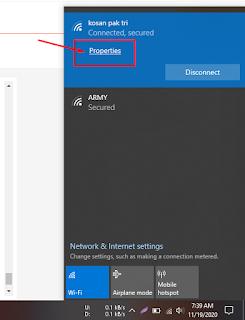 propertis wifi untuk melihat alamat ip internet