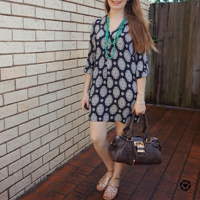 awayfromtheblue instagram navy printed tunic shift dress with gold sandals chloe paddington bag