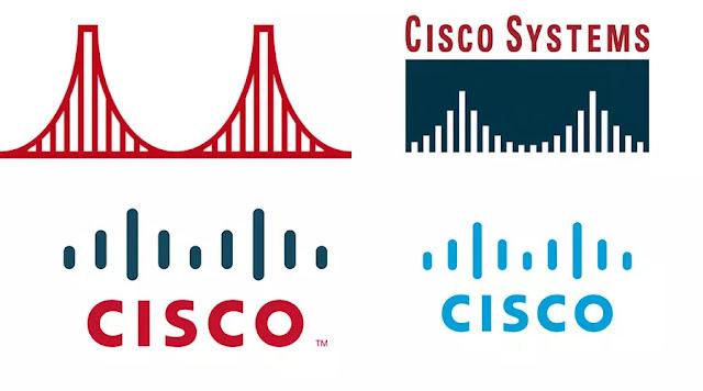 Las cuatro principales evoluciones del logotipo de Cisco.