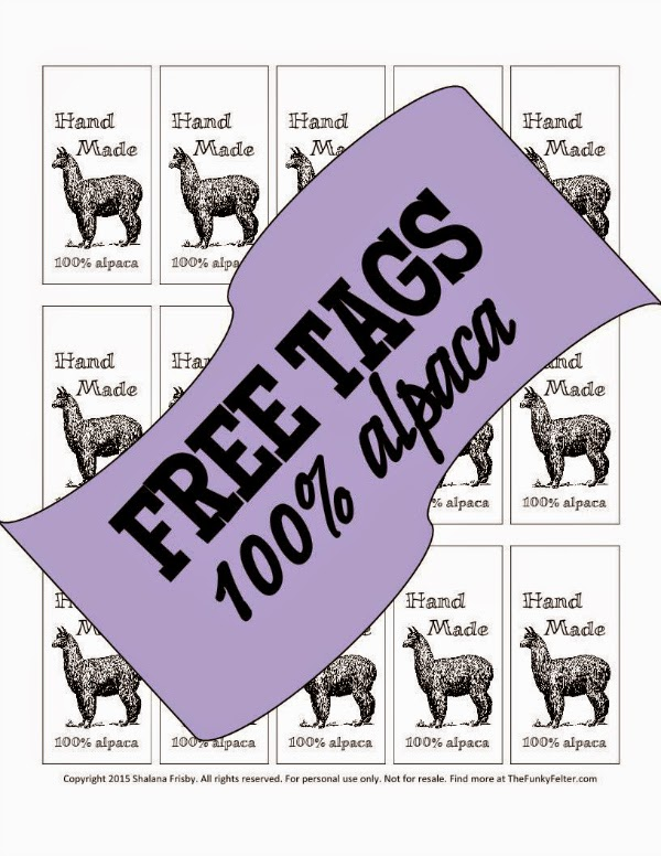 free hand made 100 percent alpaca hang tags or labels for fiber crafts