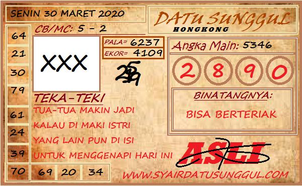 Prediksi HK Senin 30 Maret 2020 - Syair Datu Sunggul HK
