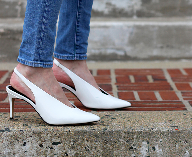 White Sling Back Pumps #whitepumps