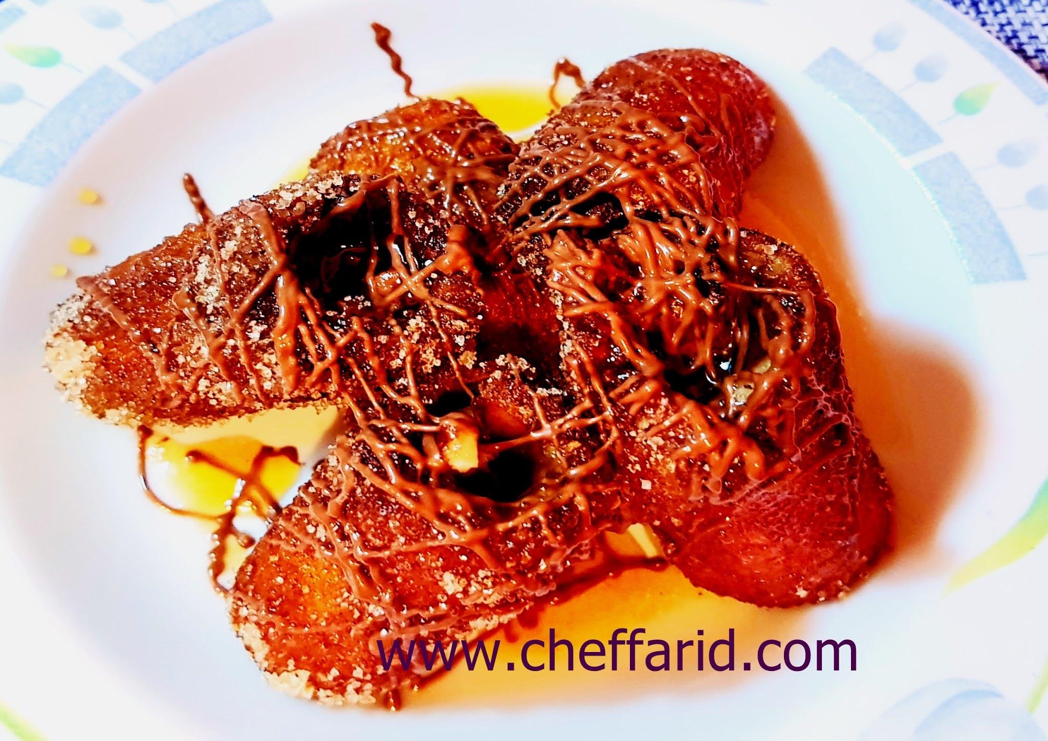 fried banana with chocolat and honey