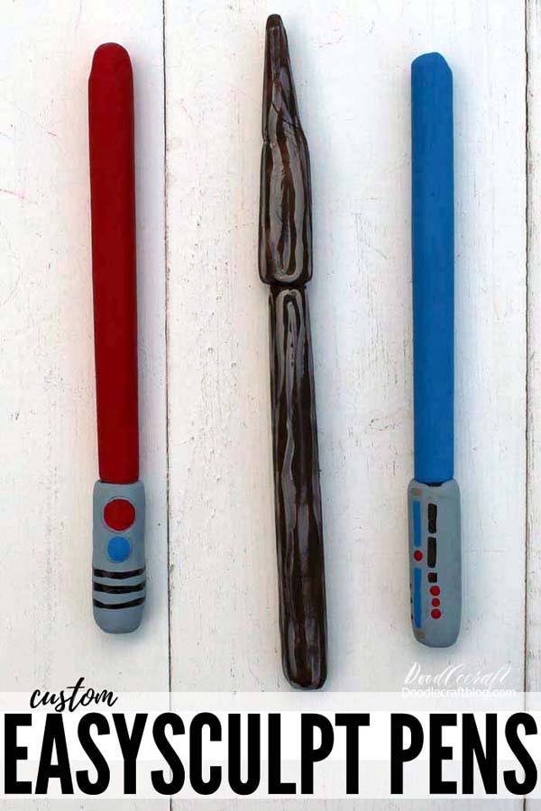 Customize your cheap plastic pens with EasySculpt resin clay in your favorite fandom like Star Wars lightsabers or Harry Potter magic wands.