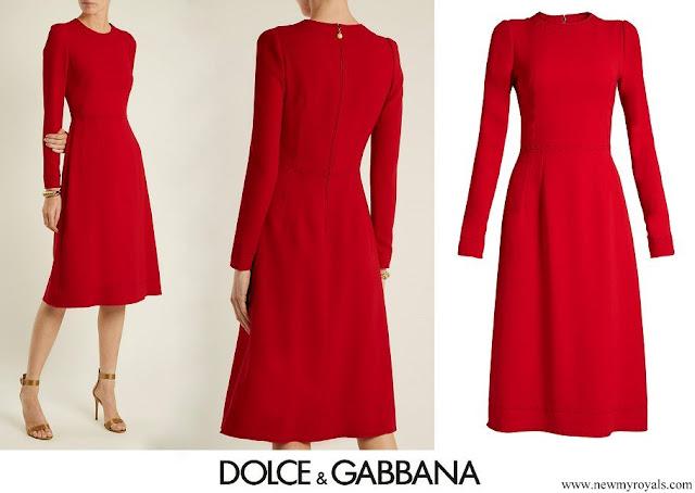 Crown Princess Mary Dolce & Gabbana Red Contrast-stitch Cady Dress