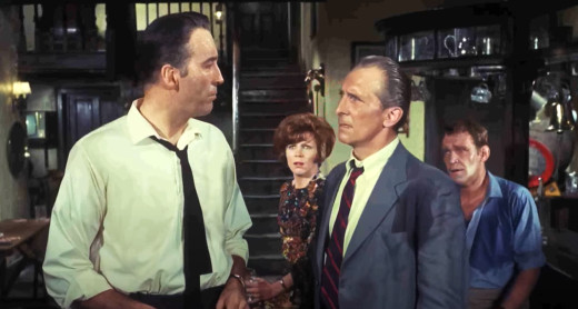 Christopher Lee and Peter Cushing in Night of the Big Heat, 1967