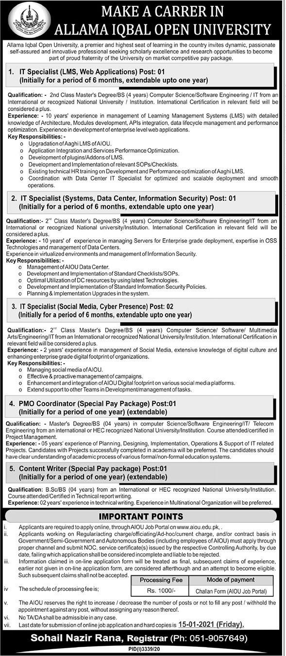 AIOU Jobs 2021 - Online Apply - www.aiou.edu.pk - aiou.edu.pk - AIOU Islamabad - Allama Iqbal Open - Allama Iqbal Open University Islamabad