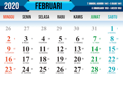 Kalender tahun 2020