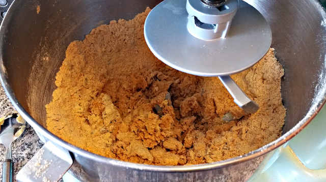 Bread mix in the mixer