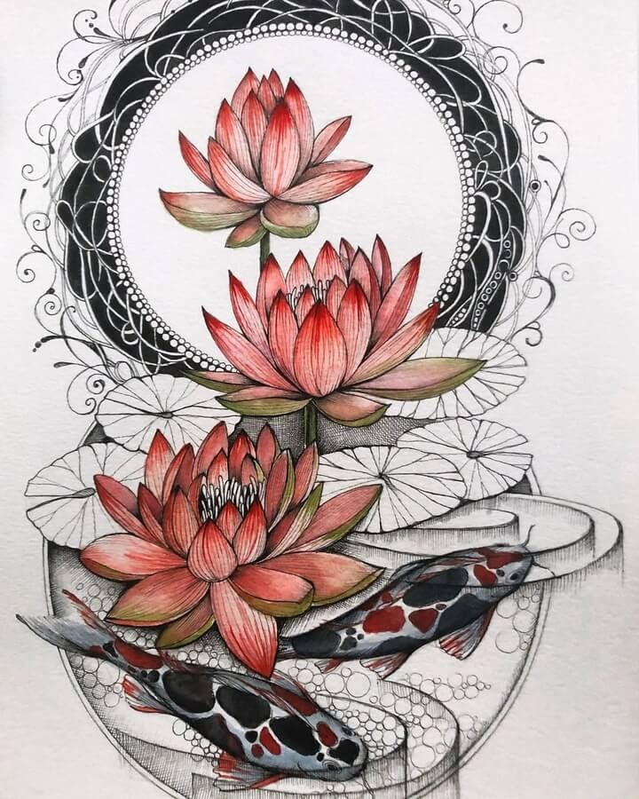 04-Water-lily-and-koi-sinArt-www-designstack-co