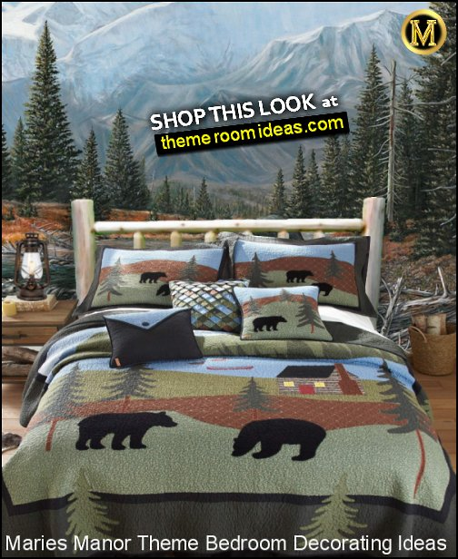 black bear bedding woodland forest mural camping in the woods bedroom decor