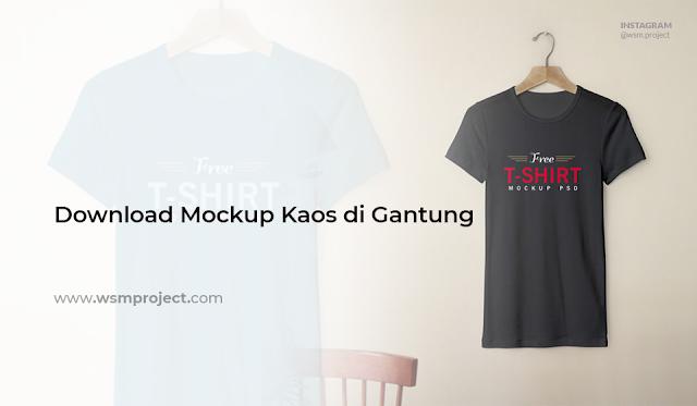 Download Mockup Kaos di Gantung PSD