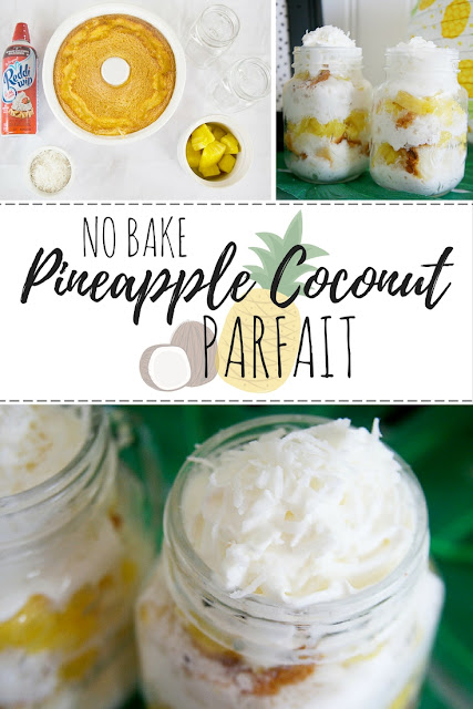 Pineapple Coconut Parfait. Great no bake dessert option for summer!