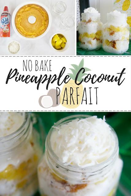 Pineapple Coconut Parfait. Great no bake dessert option for summer!