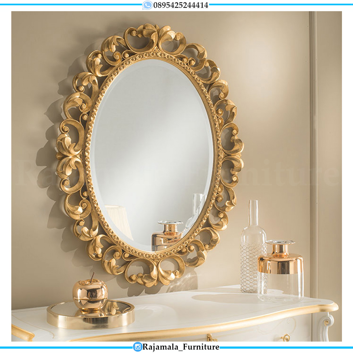 Harga Cermin Hias Mewah Oval Ukiran Jepara Premiere Palace Style RM-0503
