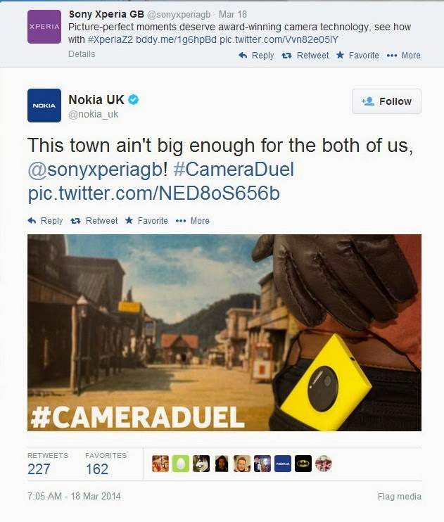 Nokia challenges Sony to a #Cameraduel
