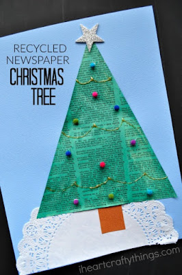 http://iheartcraftythings.com/recycled-newspaper-christmas-tree-craft.html