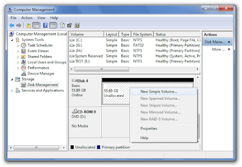 Then click disk management to part the hard disk