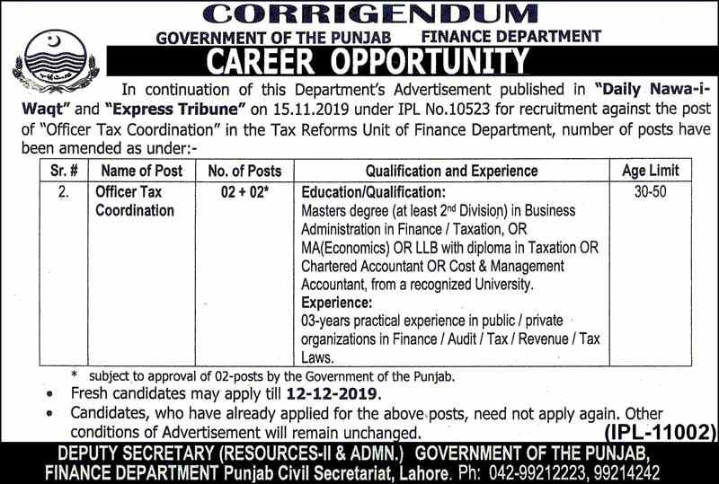Finance Department Govt Of Punjab