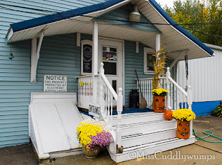 Entrance to Berlin Creek Gallery, with flowers and ceramic pumpkins on steps.