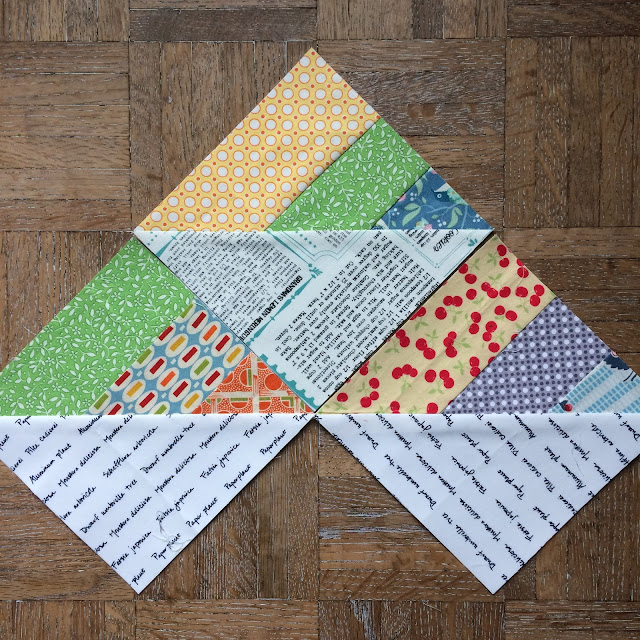 "Year of scrappy triangles a free weekly foundation paper pieced 6"" quilt block pattern."