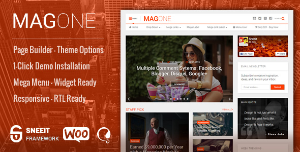 Download MagOne -­ Responsive Magazine & News WordPress Theme
