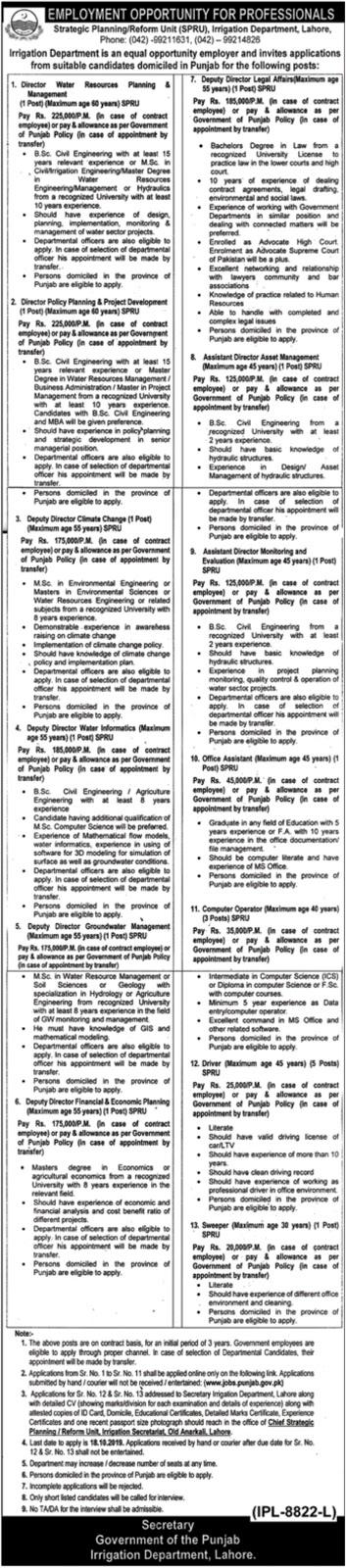 Irrigation Department Lahore Punjab Jobs 2019