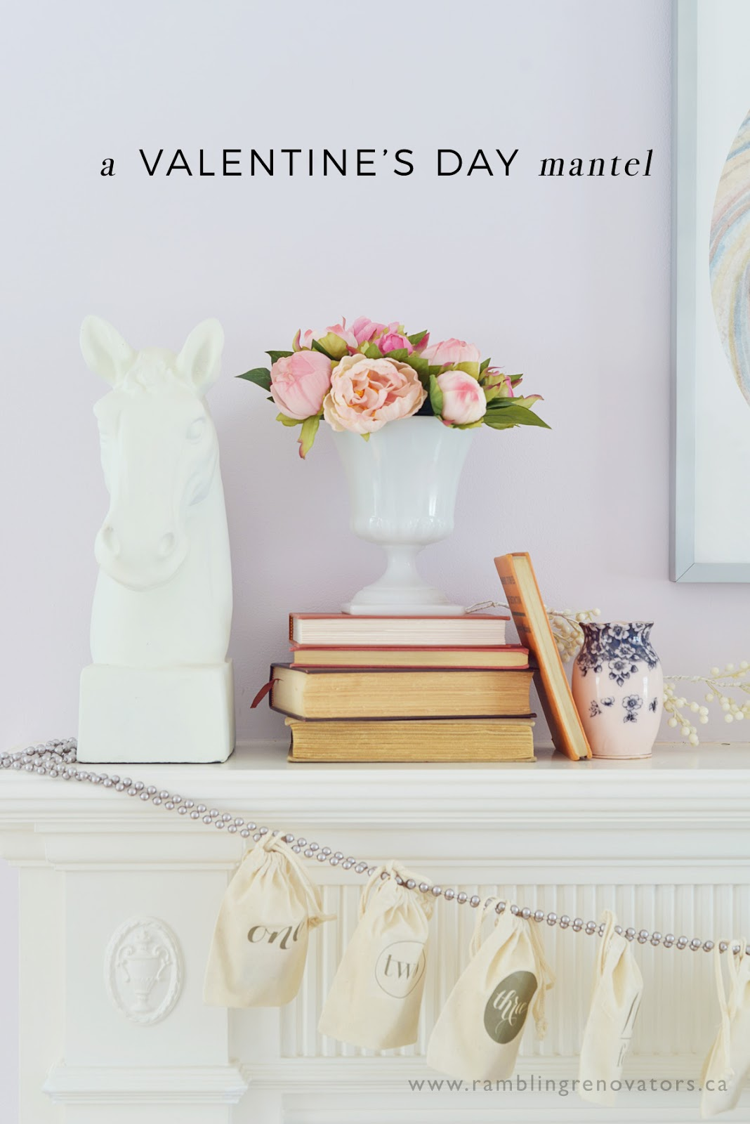 valentines day mantel, countdown calendar, milk glass flowers | Ramblingrenovators.ca