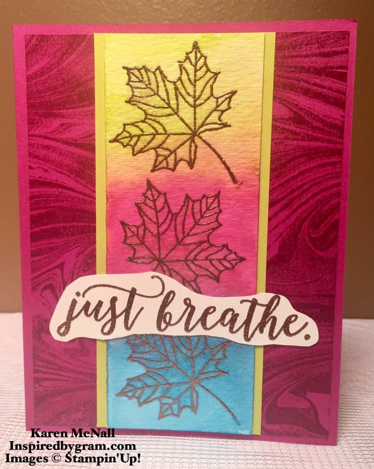 Marbled Background Stamp With Colorful Seasons From