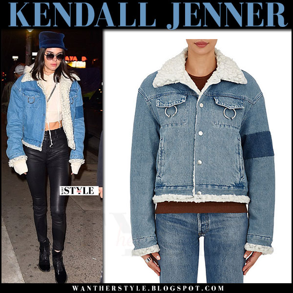 Kendall Jenner in denim shearling ambush jacket and black leather pants what she wore winter style