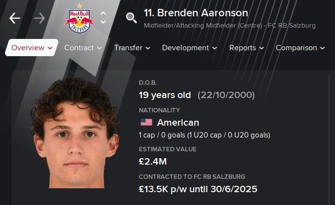 Brenden Aaronson Football Manager 2021 FM2021
