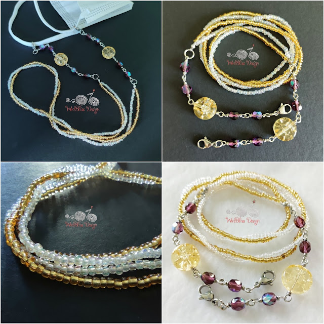 Face Mask Chain with Seed Beads, Fire Polised Glass Beads and Crackle Beads