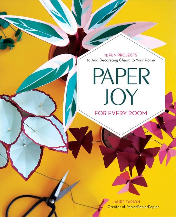 papercraft plants on book cover