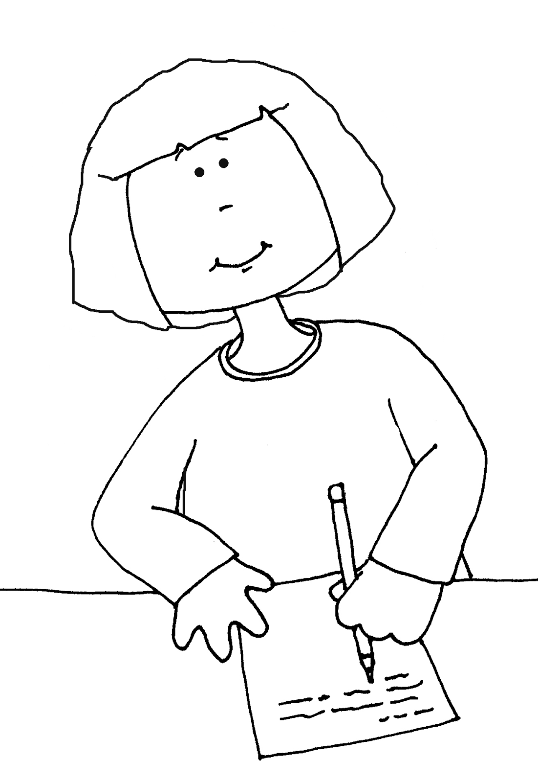 writing coloring pages | Free Dearie Dolls Digi Stamps: Girl Writing