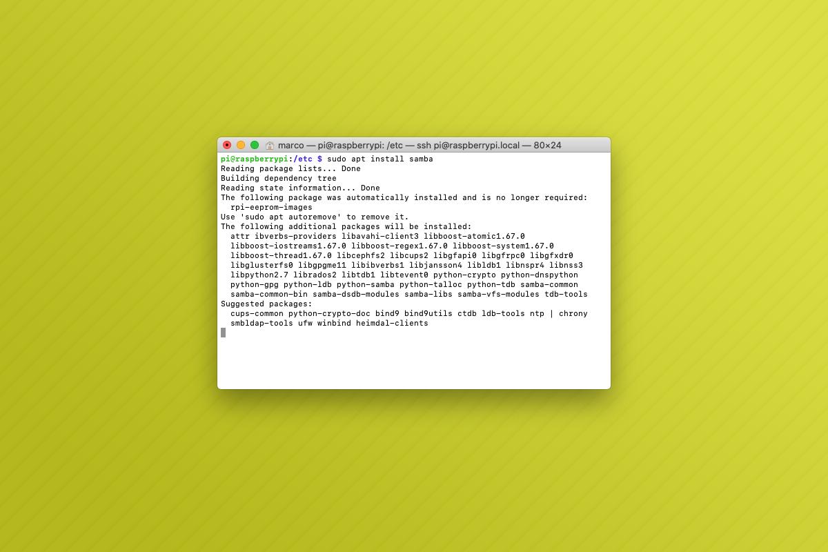 Come installare Samba su Raspbian