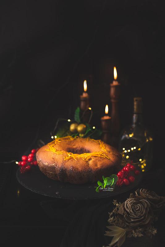 Rum raisin cake with orange glaze, recipe, food photo