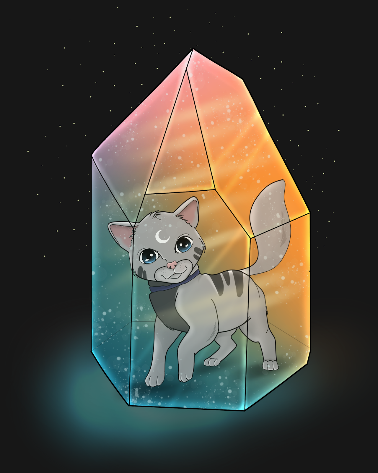 cat illustration healing crystal painting