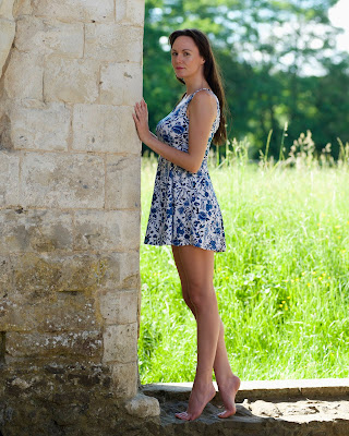 model leaning against a wall waverley abbey