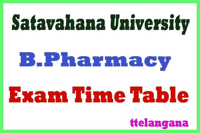 Satavahana University B Pharm Exam Time Table