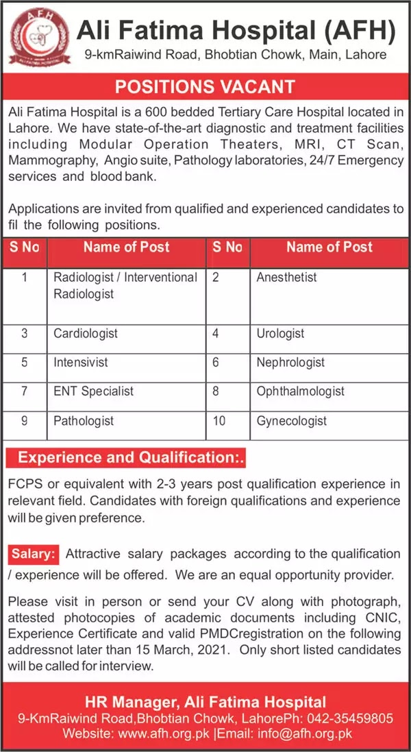 Ali Fatima Hospital   AFH   Medical Jobs   2021
