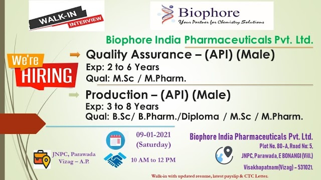 Biophore India | Walk-in interview for Production/QA on 9th Jan 2021 at Visakhapatnam