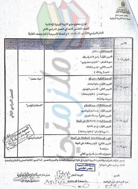 توزيع منهج الدين الاسلامي للصف الخامس الإبتدائي 2017