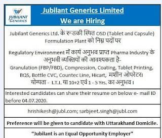 Jubilant Generics Limited Recruitment June 2020